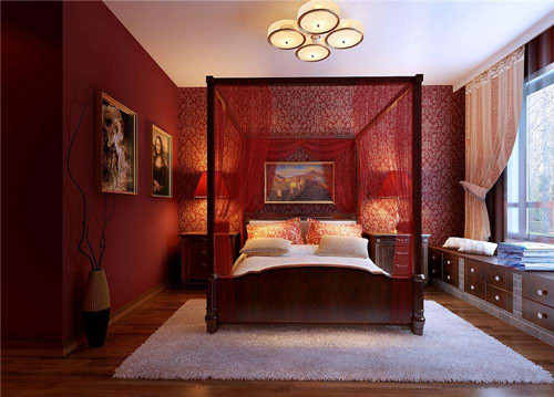 中式装修样板房——卧室图片