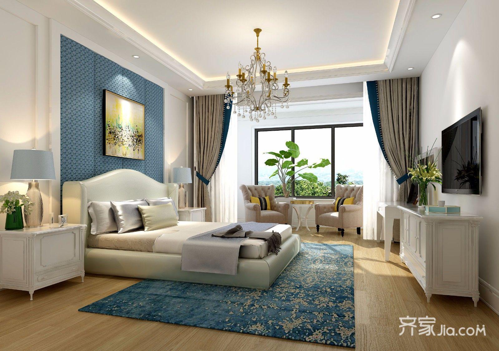 装修设计 运城装修 运城装修案例 地中海风格   三个卧室一个书房,两