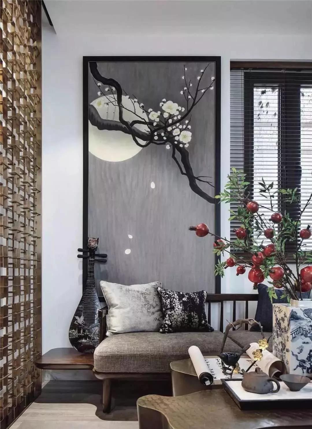 最美不过新中式沙发背景墙!图片