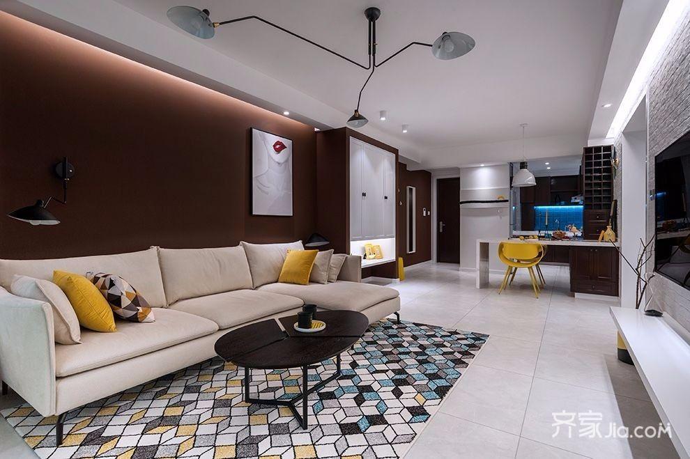 装修效果图,现代偏北欧风二居室装修案例效果图-齐家图片