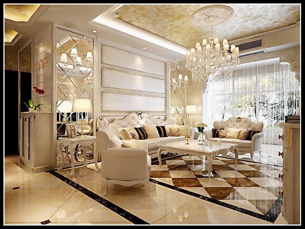 三居室简欧风格客厅沙发背景墙图片