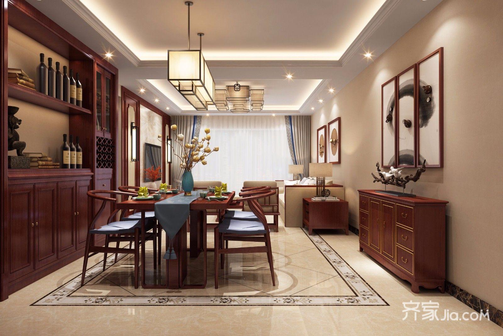 客厅--新中式风格,地面采用了波导线跟斜铺的设计地面造型更加美观.图片