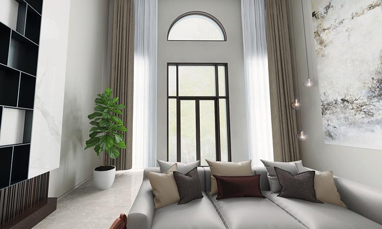 现代|客厅,地下室3D效果图