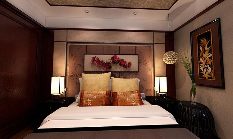 中式|卧室3D效果图