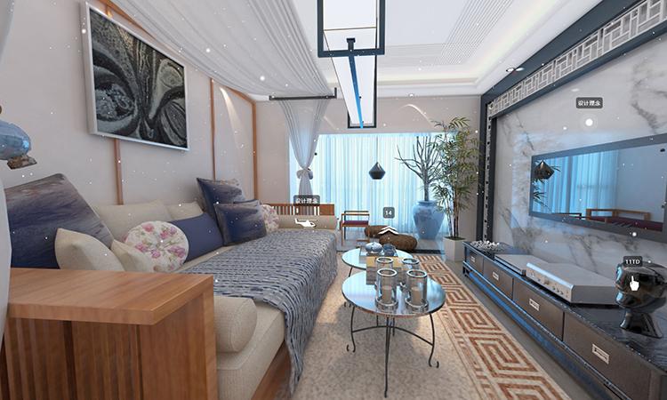 中式|客厅,阳台3D效果图