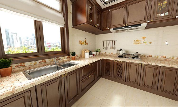 中式|厨房3D效果图