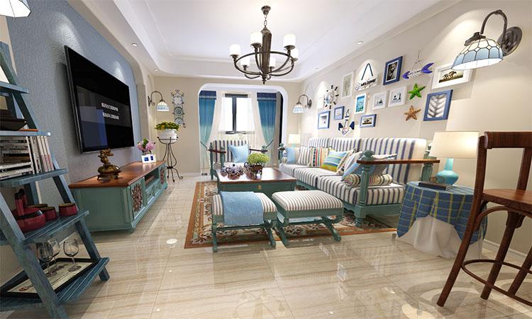 现代|客厅,餐厅,厨房,卫生间,阳台3D效果图