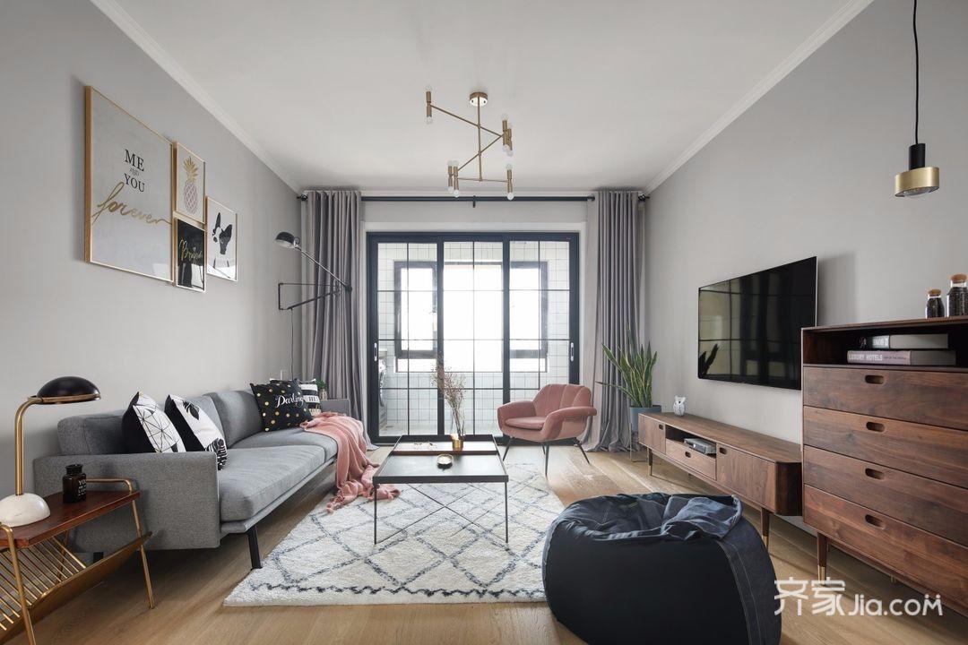 装修效果图,宁静治愈北欧风三居室装修案例效果图图片