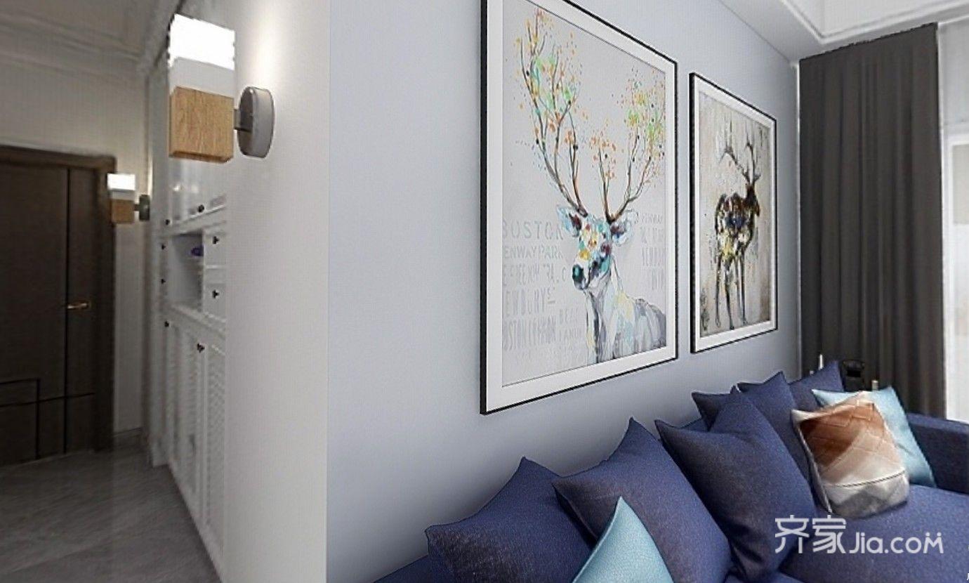 硅藻泥沙发背景配上抽象的挂画,门厅也放上两盏小壁灯,连我个人都