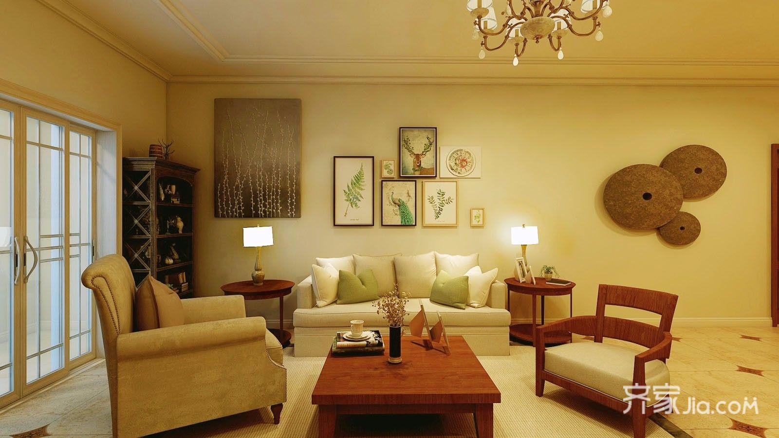 美式,美中有不足   客厅 客厅地面采用黄色拼花地板砖,美式复古的吊灯图片
