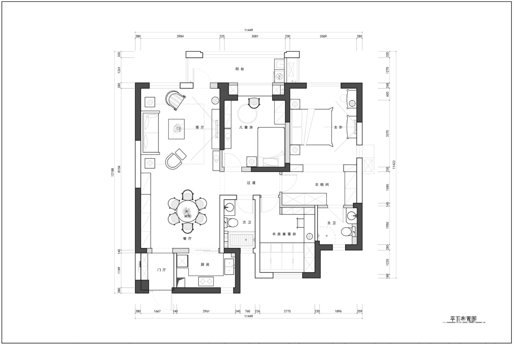 16万140平米美式三居室装修效果图,复地东湖国际10栋