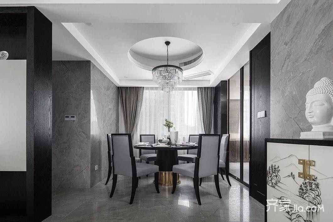 35万140平米中式三居室装修效果图,轻奢新中式装修图图片