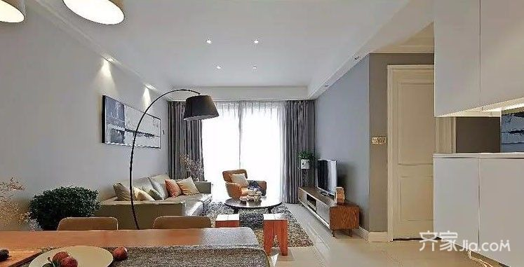 3万115平米简约三居室装修效果图,市场公寓115平图