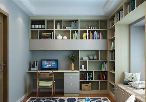 书桌书柜组合设计效果图室内摆书桌书柜组合实用吗