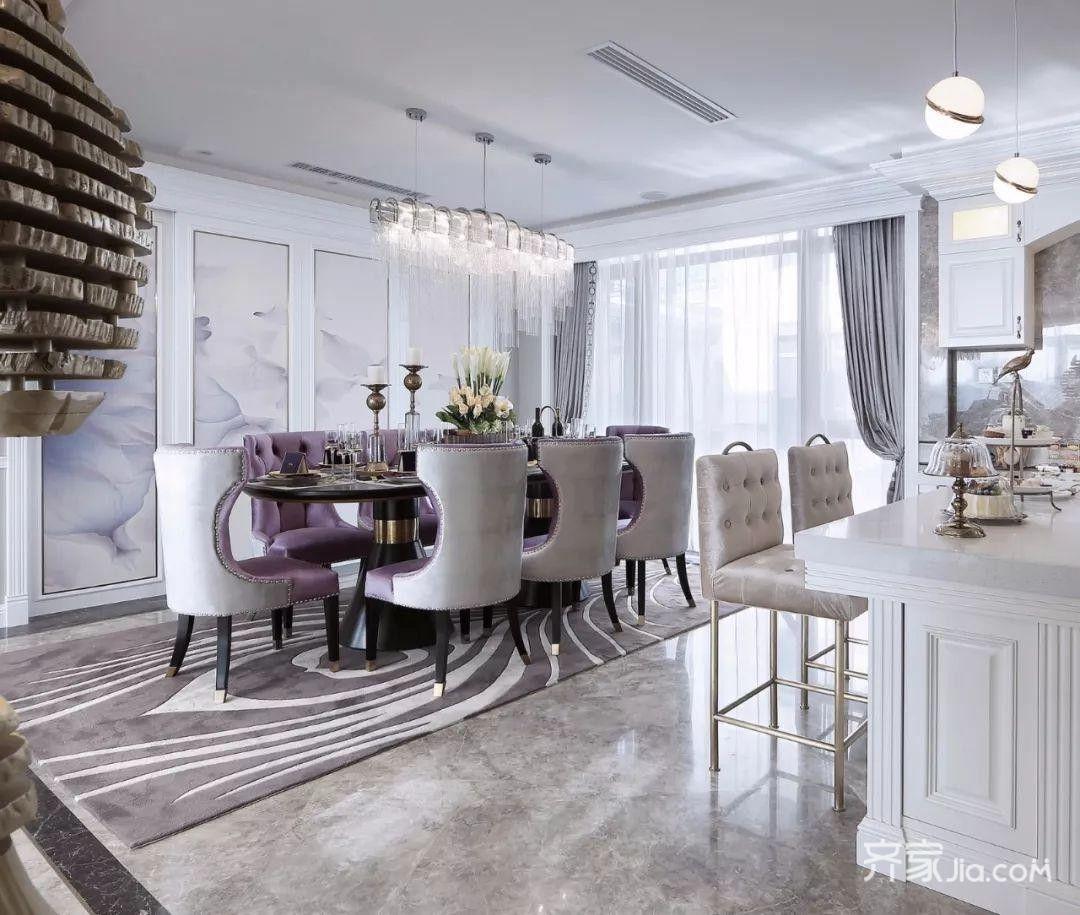 21万175平米欧式三居室装修效果图,轻奢北欧风装修图