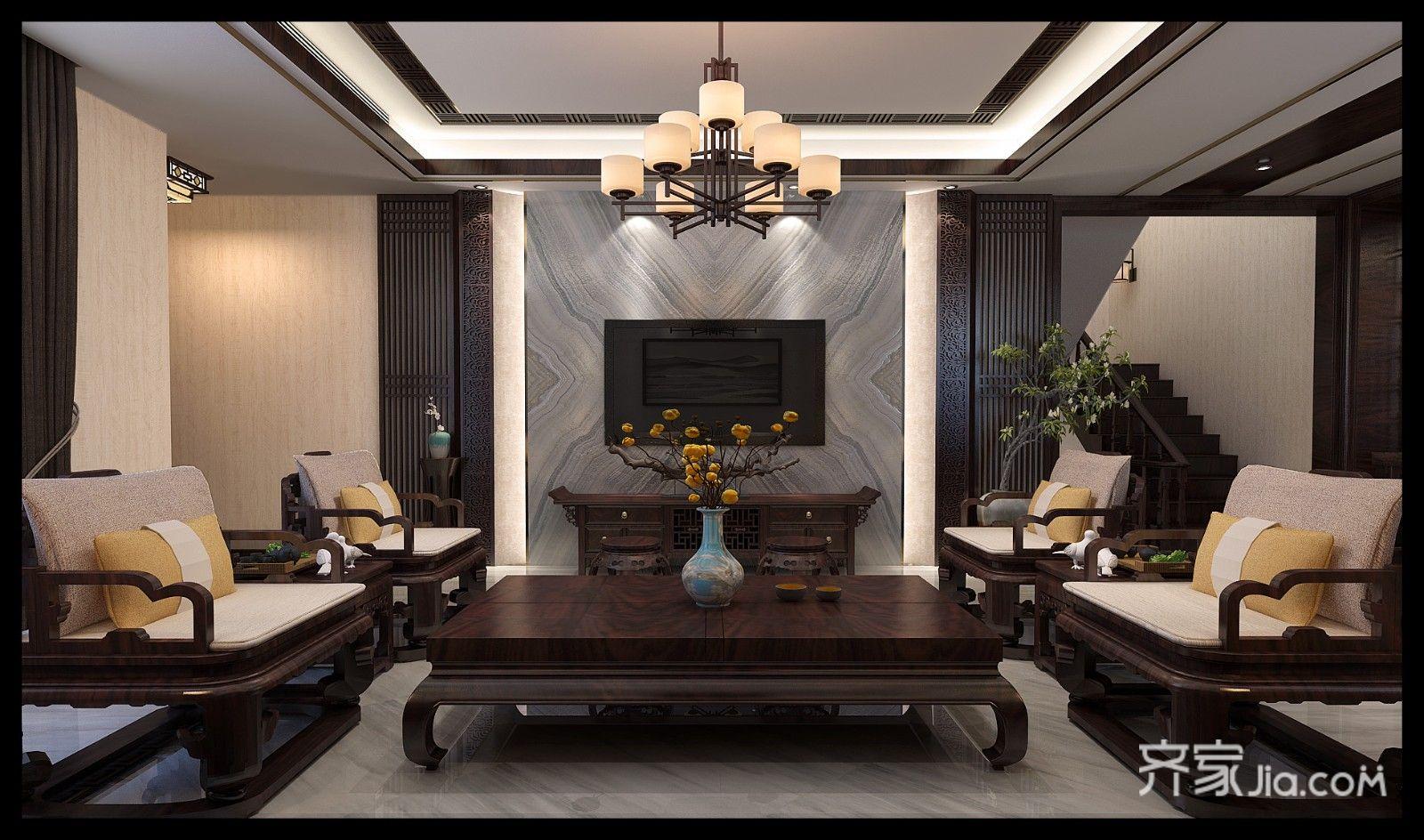 影视墙的设计,大理石搭配实木腾云花格,再一次把新中式表现的淋漓尽致