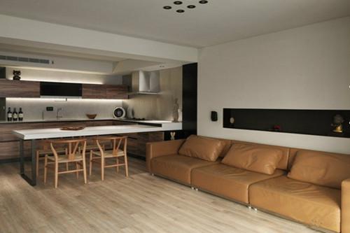 厨房和客厅一体装修图 开放式的设计让居室变宽