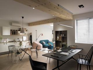 112平北欧风公寓装修木梁吊顶设计图图片
