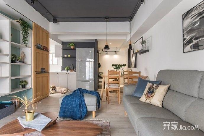 客厅,背景墙跳了绿色,加上绿植和软装,森系满满,感觉和大自然融合