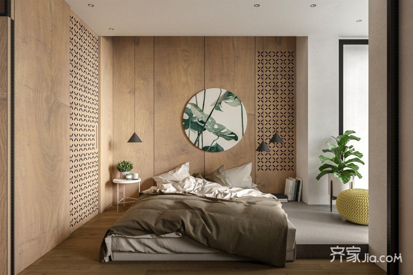 并在墙面木板雕刻篓空花纹,塑造空间变化层次感