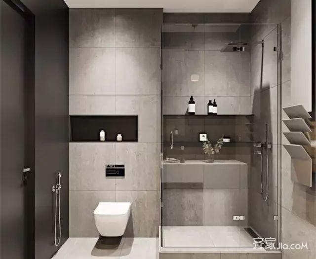 8万60平米简约一居室装修效果图,黑白灰极简公寓人