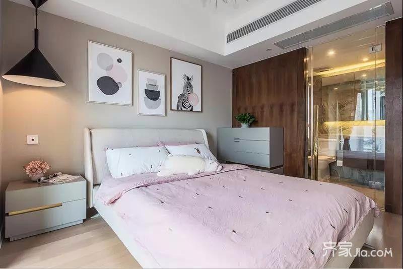 这样一体化的设计能够为卧室节省不少的空间.图片
