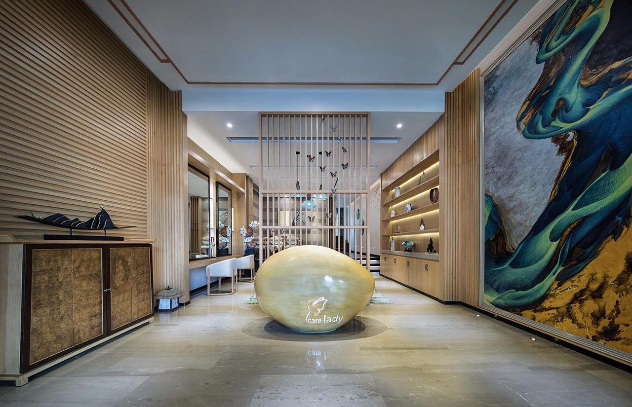 中式休閑美容會所大廳裝修效果圖圖片