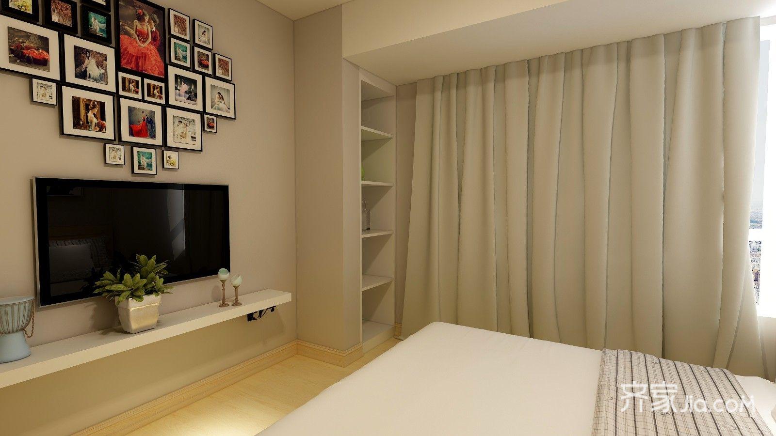 浅灰色墙面和米黄色地板搭配浅色家具,让人感觉很清新.