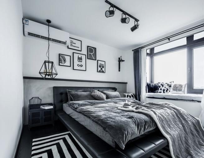5万68平米现代两房装修效果图,黑白灰工业风小户型