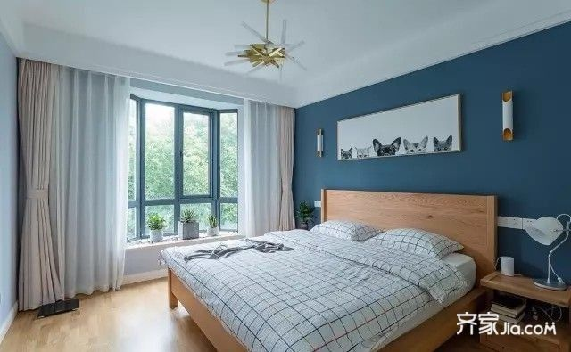 6万102平米现代两房装修效果图,102平现代简约婚房