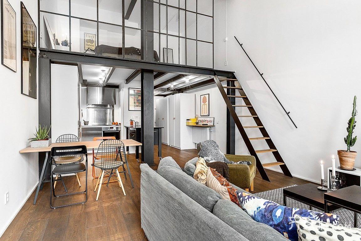 5万40平米工业loft装修效果图,单身公寓loft工业风图