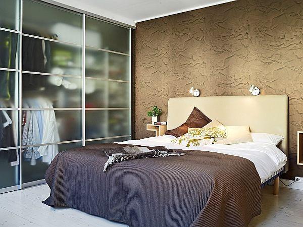 现代家装卧室玻璃门衣柜设计