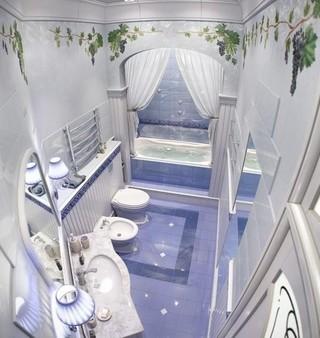 欧式华丽高贵紫浴室俯瞰图