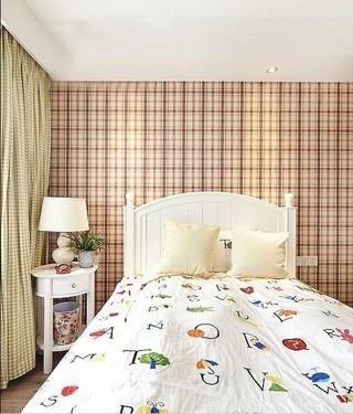 美式儿童房格子背景墙设计装饰效果图