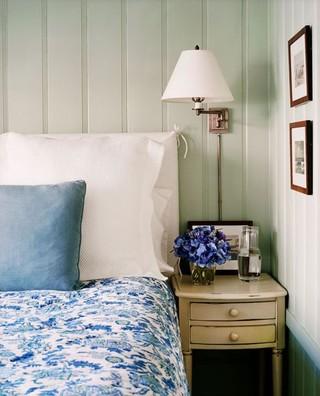 蓝白欧式田园风卧室局部图