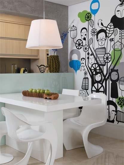 北欧风餐厅 创意手绘背景墙效果图