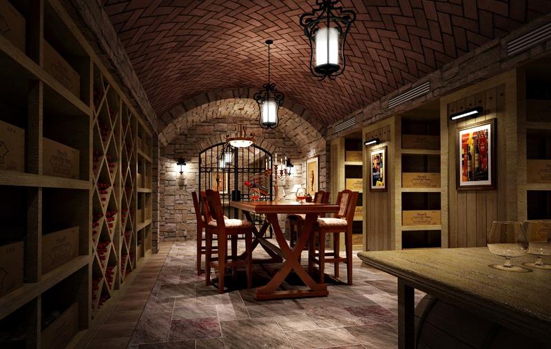 复古托斯卡纳风格 别墅餐厅拱形吊顶设计