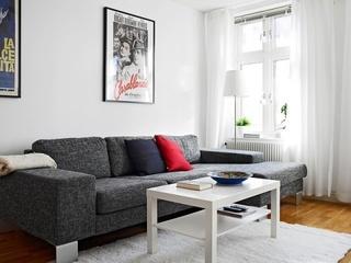 素雅北欧风客厅 布艺沙发效果图