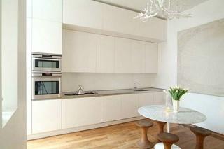 纯白极简主义厨房橱柜设计