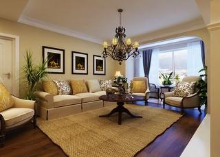 温馨地中海风客厅沙发背景墙设计