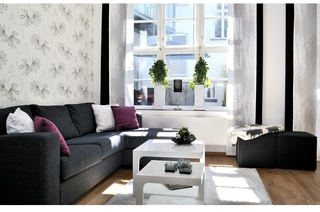 时尚黑白配简约风小户型公寓效果图