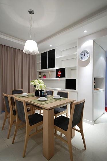 现代风格餐厅长方形餐桌摆放图片