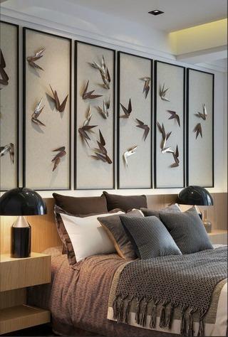 精美新中式卧室床头背景墙欣赏