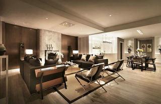 复古后现代混搭风 咖色系公寓效果图