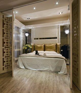 简欧新古典卧室 镂空折叠门图片