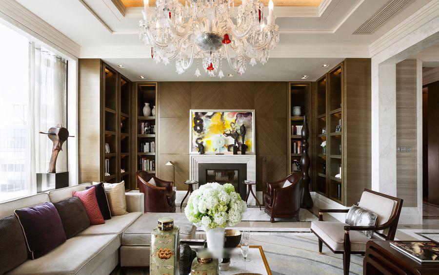 别墅客厅 高端欧式电视背景墙效果图