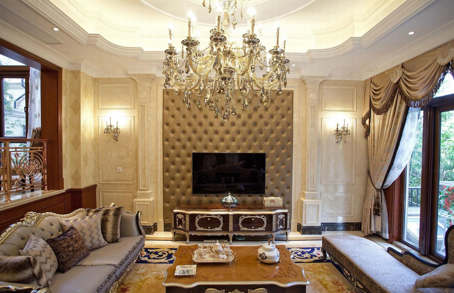 豪华欧式风 软包电视背景墙装饰