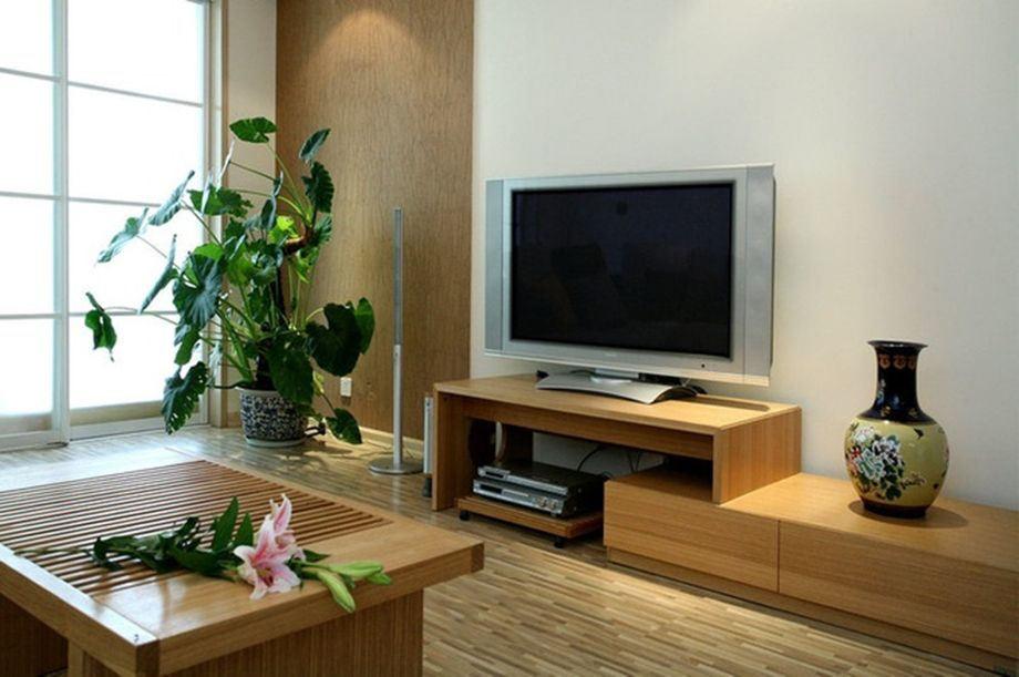 简约设计客厅 实木电视柜效果图