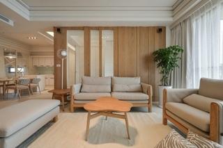 清新日式客厅布艺沙发效果图