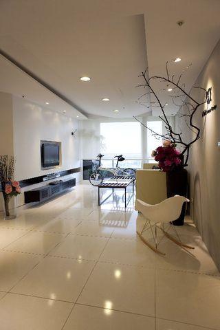 优雅现代简中式客厅整体效果图